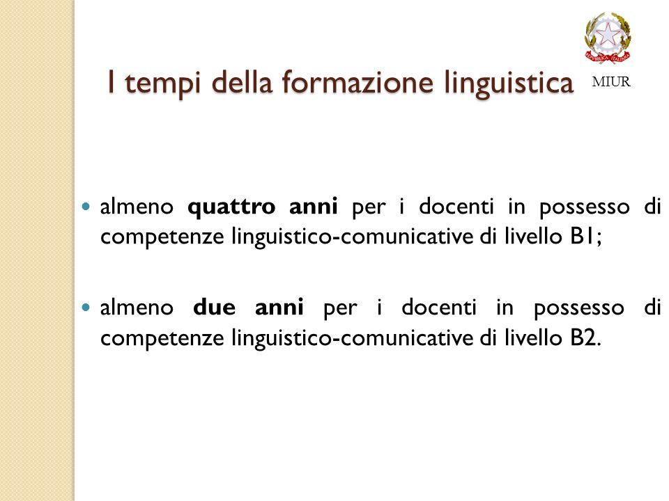 I tempi della formazione linguistica almeno quattro anni per i docenti in possesso di competenze linguistico-comunicative di livello B1; almeno due anni per i docenti in possesso di competenze linguistico-comunicative di livello B2.