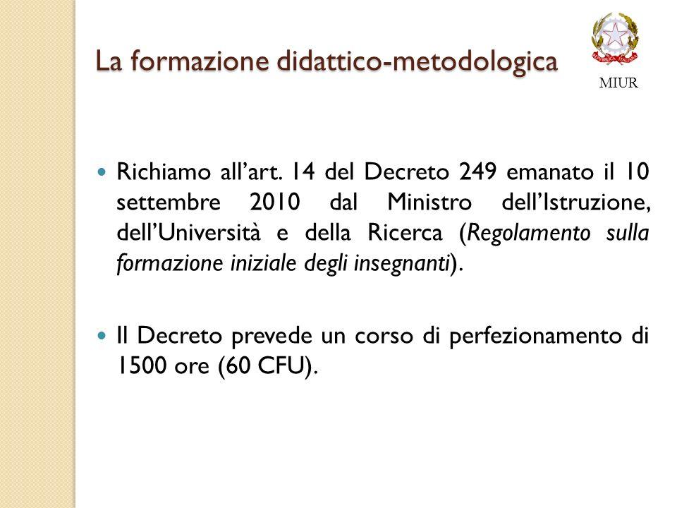 La formazione didattico-metodologica La formazione didattico-metodologica Richiamo allart.