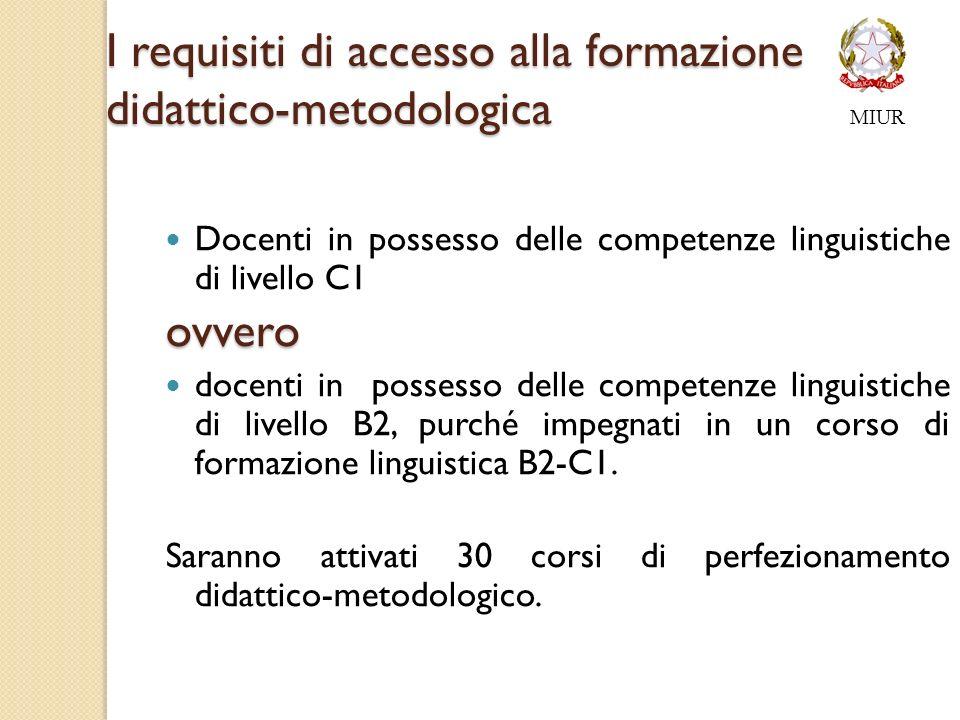 I requisiti di accesso alla formazione didattico-metodologica Docenti in possesso delle competenze linguistiche di livello C1ovvero docenti in possesso delle competenze linguistiche di livello B2, purché impegnati in un corso di formazione linguistica B2-C1.