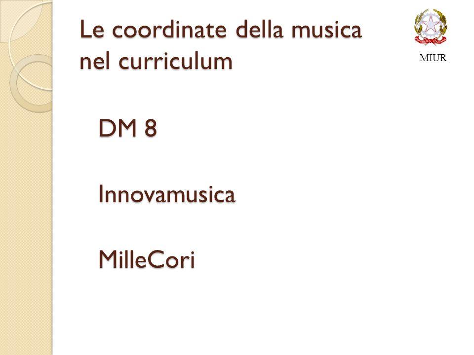 Le coordinate della musica nel curriculum DM 8 DM 8 Innovamusica InnovamusicaMilleCori MIUR