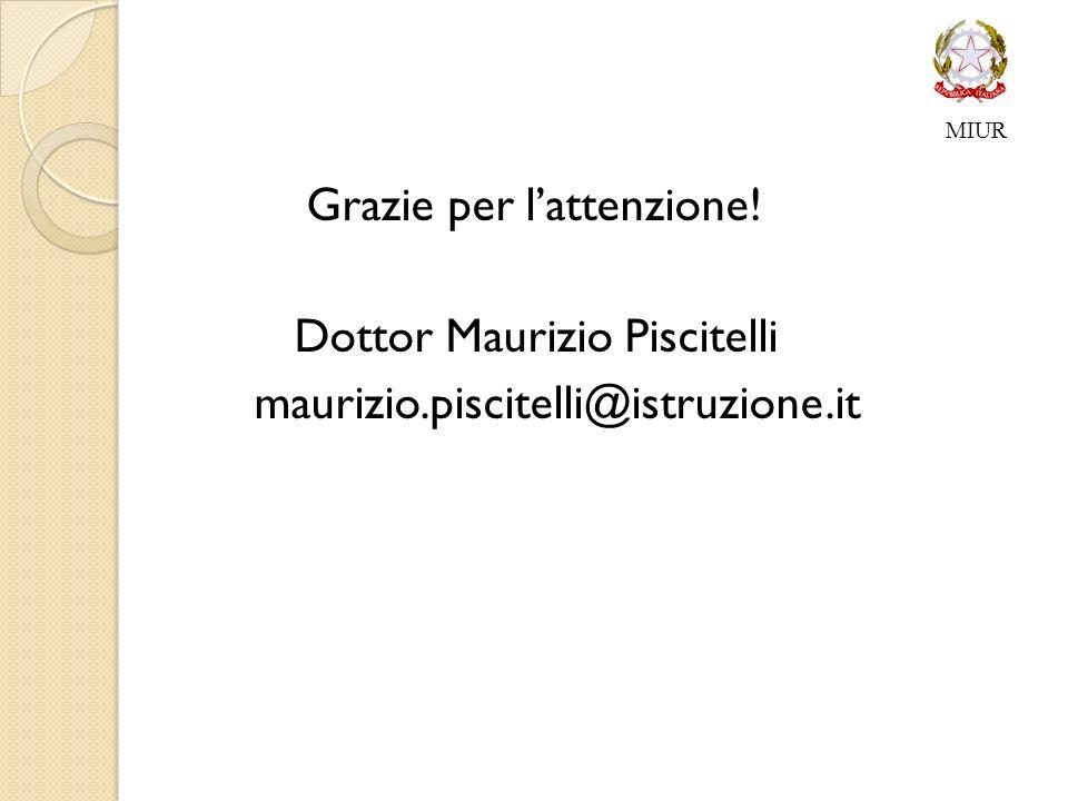 Grazie per lattenzione! Dottor Maurizio Piscitelli maurizio.piscitelli@istruzione.it MIUR
