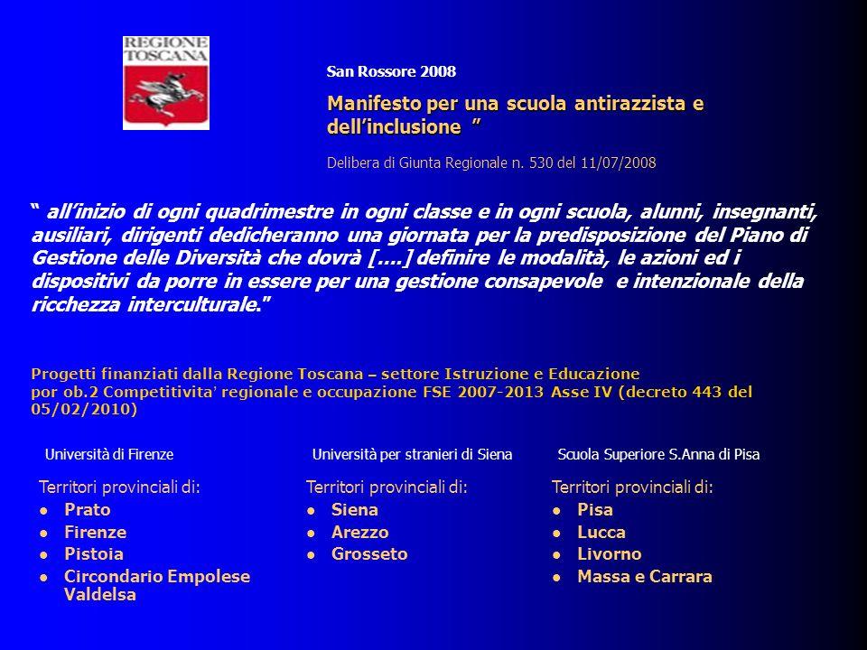 Territori provinciali di: Prato Firenze Pistoia Circondario Empolese Valdelsa San Rossore 2008 Manifestoper una scuola antirazzista e dellinclusione M
