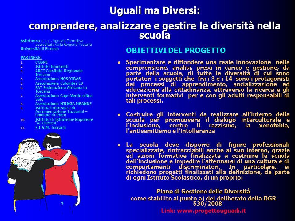 Uguali ma Diversi: comprendere, analizzare e gestire le diversità nella scuola Sperimentare e diffondere una reale innovazione nella comprensione, ana