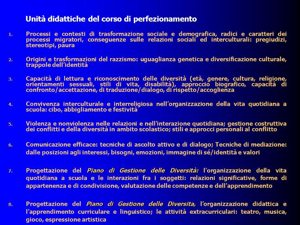 Moduli formativi tematici: contenuti 1.
