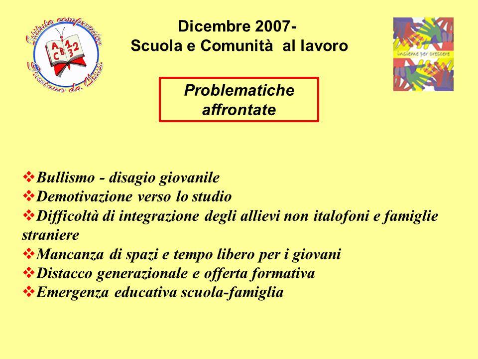 Dicembre 2007- Scuola e Comunità al lavoro Problematiche affrontate Bullismo - disagio giovanile Demotivazione verso lo studio Difficoltà di integrazi