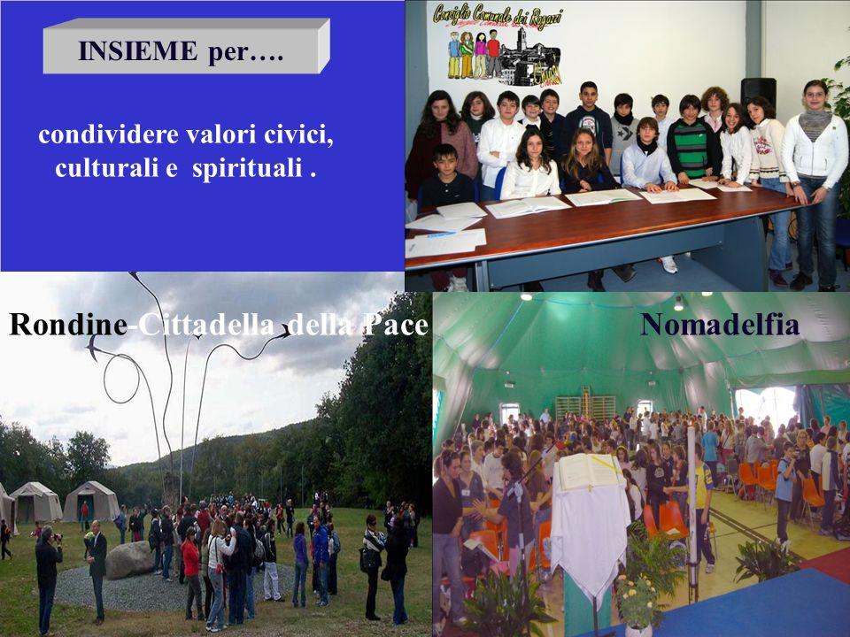 INSIEME per…. condividere valori civici, culturali e spirituali. Rondine-Cittadella della PaceNomadelfia