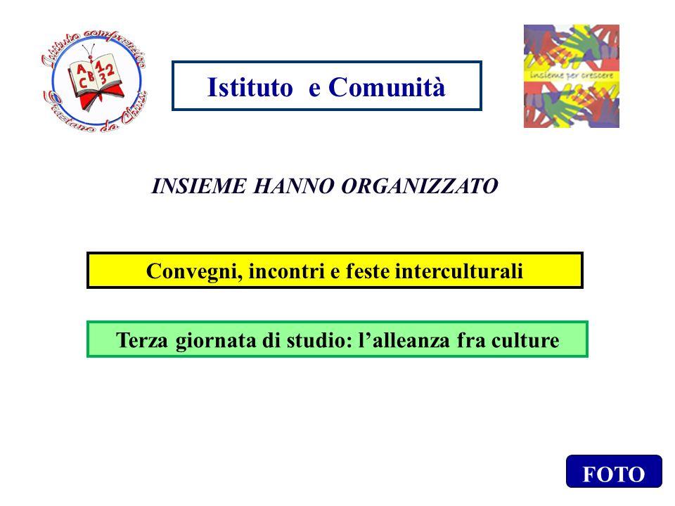 Istituto e Comunità INSIEME HANNO ORGANIZZATO Convegni, incontri e feste interculturali Terza giornata di studio: lalleanza fra culture FOTO