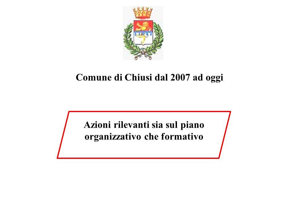 Comune di Chiusi dal 2007 ad oggi Azioni rilevanti sia sul piano organizzativo che formativo