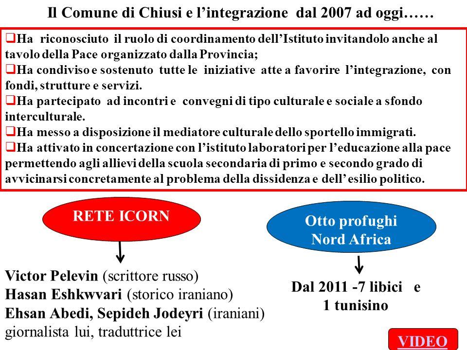 Il Comune di Chiusi e lintegrazione dal 2007 ad oggi…… Ha riconosciuto il ruolo di coordinamento dellIstituto invitandolo anche al tavolo della Pace o