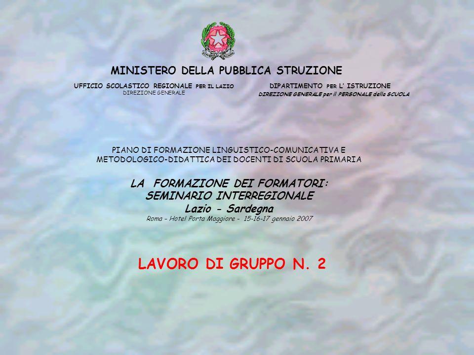 MINISTERO DELLA PUBBLICA STRUZIONE UFFICIO SCOLASTICO REGIONALE PER IL LAZIO DIREZIONE GENERALE DIPARTIMENTO PER L ISTRUZIONE DIREZIONE GENERALE per il PERSONALE della SCUOLA PIANO DI FORMAZIONE LINGUISTICO-COMUNICATIVA E METODOLOGICO-DIDATTICA DEI DOCENTI DI SCUOLA PRIMARIA LA FORMAZIONE DEI FORMATORI: SEMINARIO INTERREGIONALE Lazio - Sardegna Roma – Hotel Porta Maggiore - 15-16-17 gennaio 2007 LAVORO DI GRUPPO N.