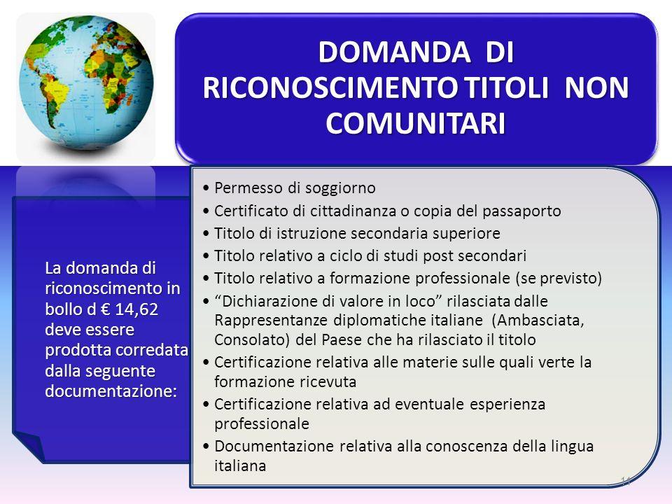 DOMANDA DI RICONOSCIMENTO TITOLI NON COMUNITARI La domanda di riconoscimento in bollo d 14,62 deve essere prodotta corredata dalla seguente documentaz