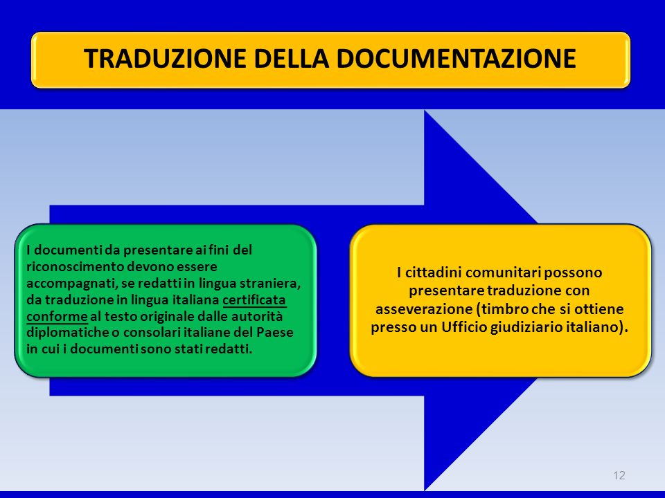 I documenti da presentare ai fini del riconoscimento devono essere accompagnati, se redatti in lingua straniera, da traduzione in lingua italiana cert