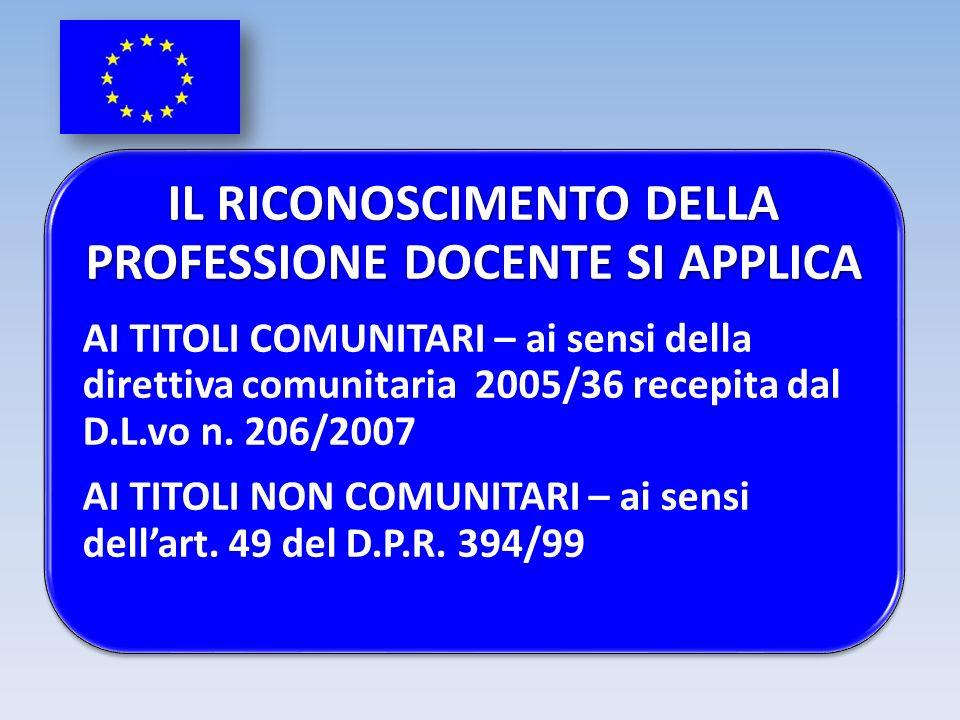 IL RICONOSCIMENTO DELLA PROFESSIONE DOCENTE SI APPLICA AI TITOLI COMUNITARI – ai sensi della direttiva comunitaria 2005/36 recepita dal D.L.vo n. 206/