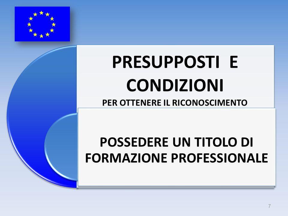 PRESUPPOSTI E CONDIZIONI PER OTTENERE IL RICONOSCIMENTO POSSEDERE UN TITOLO DI FORMAZIONE PROFESSIONALE 7