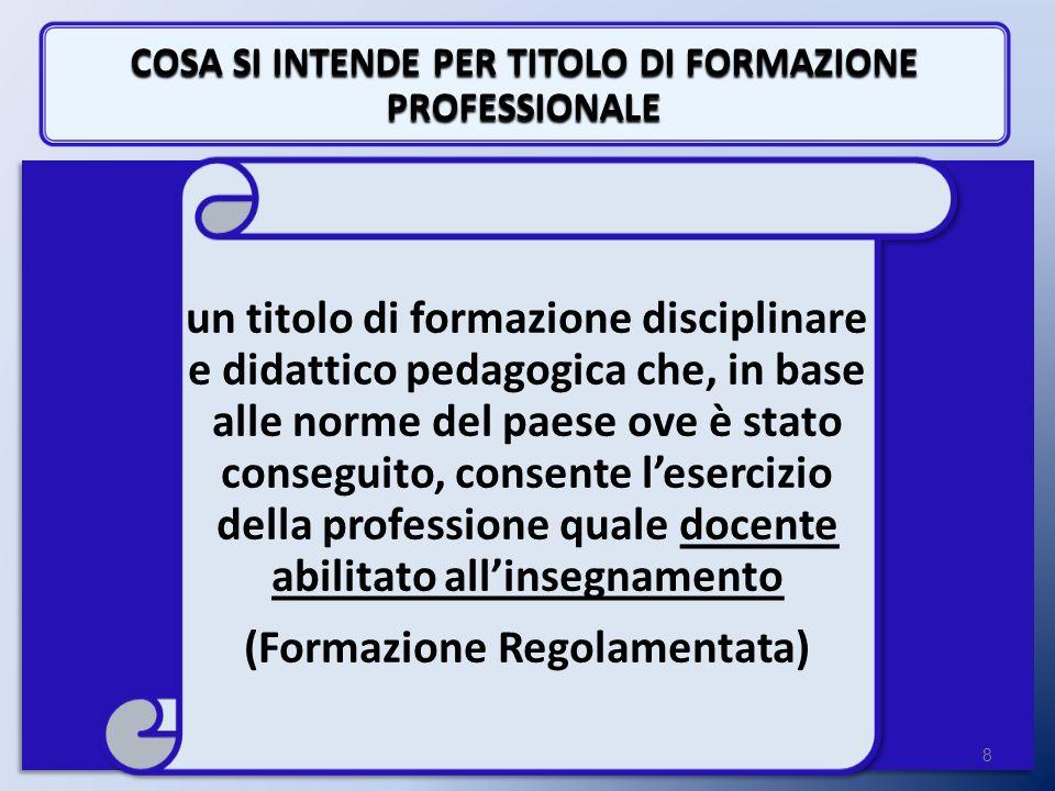 COSA SI INTENDE PER TITOLO DI FORMAZIONE PROFESSIONALE 8