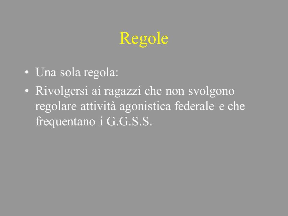 Regole Una sola regola: Rivolgersi ai ragazzi che non svolgono regolare attività agonistica federale e che frequentano i G.G.S.S.