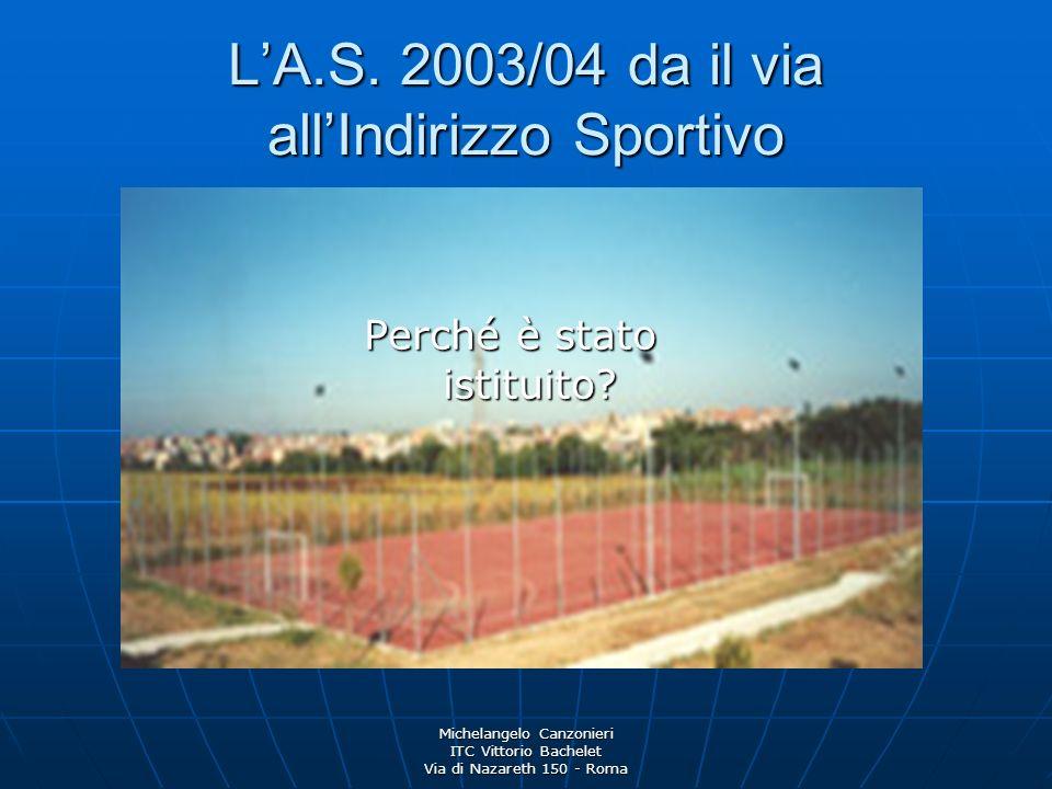 Michelangelo Canzonieri ITC Vittorio Bachelet Via di Nazareth 150 - Roma LA.S. 2003/04 da il via allIndirizzo Sportivo Perché è stato istituito?