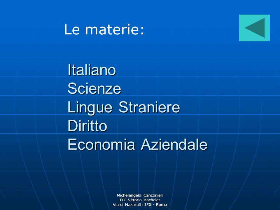 Michelangelo Canzonieri ITC Vittorio Bachelet Via di Nazareth 150 - Roma Italiano Scienze Lingue Straniere Diritto Economia Aziendale Le materie: