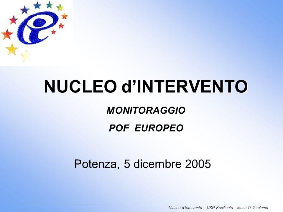 NUCLEO dINTERVENTO NUCLEO dINTERVENTO MONITORAGGIO POF EUROPEO Potenza, 5 dicembre 2005 Nucleo dIntervento – USR Basilicata – Maria Di Girolamo