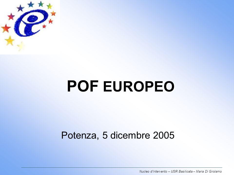 POF EUROPEO Potenza, 5 dicembre 2005 Nucleo dIntervento – USR Basilicata – Maria Di Girolamo