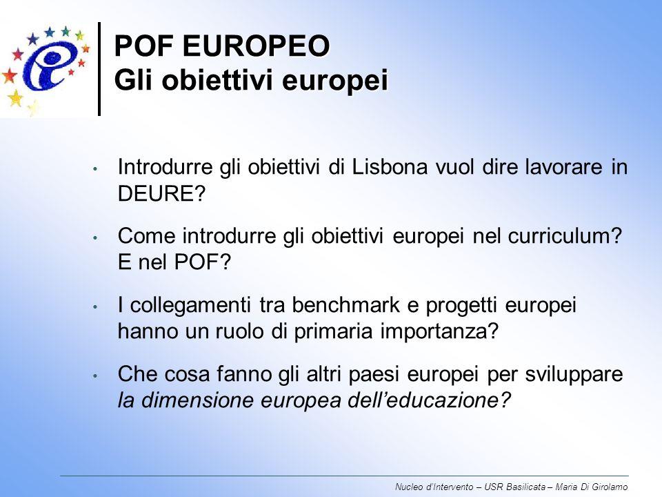 POF EUROPEO Gli obiettivi europei Nucleo dIntervento – USR Basilicata – Maria Di Girolamo Introdurre gli obiettivi di Lisbona vuol dire lavorare in DEURE.