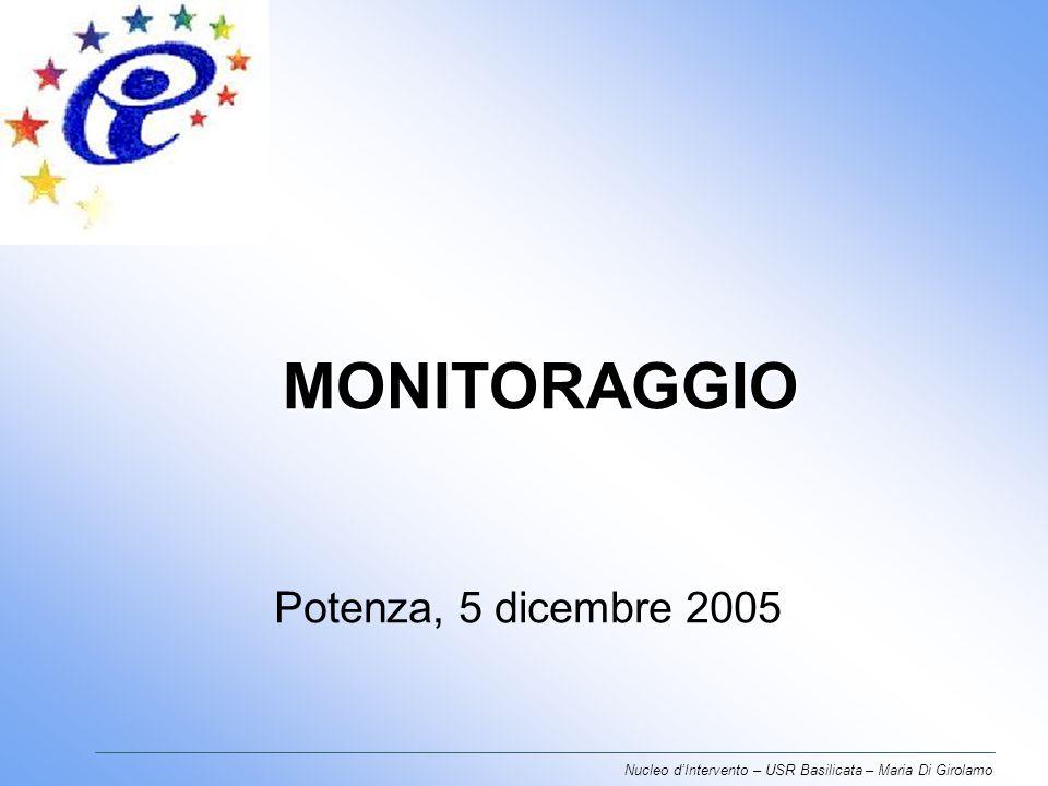 MONITORAGGIO Potenza, 5 dicembre 2005 Nucleo dIntervento – USR Basilicata – Maria Di Girolamo
