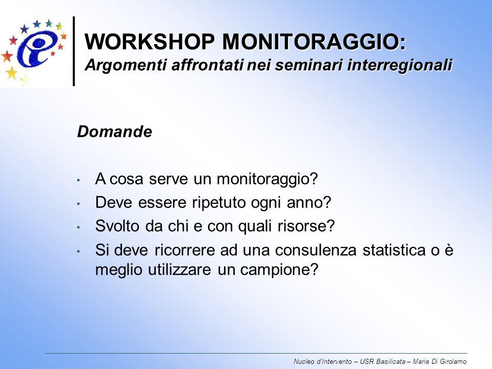 WORKSHOP MONITORAGGIO: Argomenti affrontati nei seminari interregionali Nucleo dIntervento – USR Basilicata – Maria Di Girolamo Domande A cosa serve un monitoraggio.