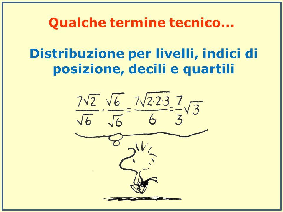 Distribuzione per livelli, indici di posizione, decili e quartili Qualche termine tecnico...