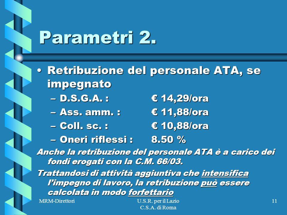 MRM-DirettoriU.S.R. per il Lazio C.S.A. di Roma 11 Parametri 2.