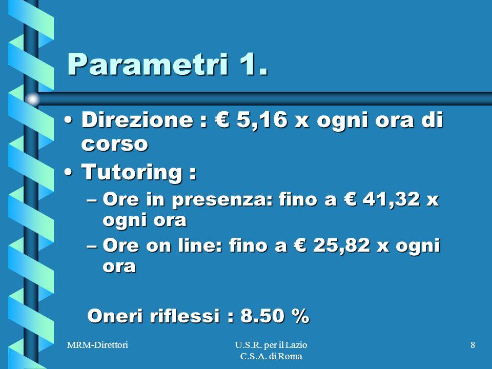 MRM-DirettoriU.S.R. per il Lazio C.S.A. di Roma 8 Parametri 1.