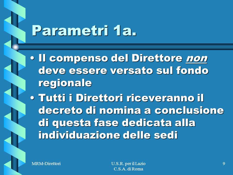 MRM-DirettoriU.S.R. per il Lazio C.S.A. di Roma 9 Parametri 1a.