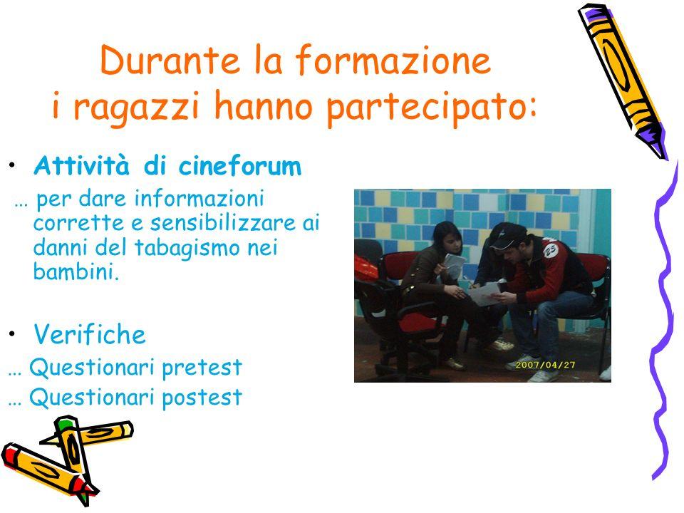 Durante la formazione i ragazzi hanno partecipato: Attività di cineforum … per dare informazioni corrette e sensibilizzare ai danni del tabagismo nei bambini.