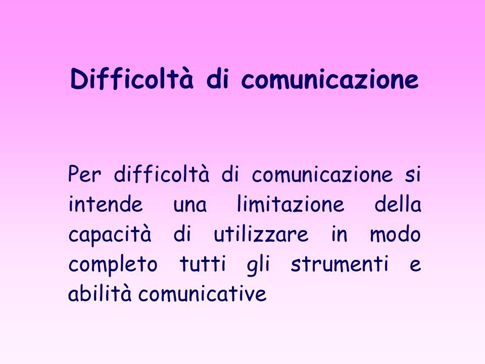 Difficoltà di comunicazione Per difficoltà di comunicazione si intende una limitazione della capacità di utilizzare in modo completo tutti gli strumenti e abilità comunicative