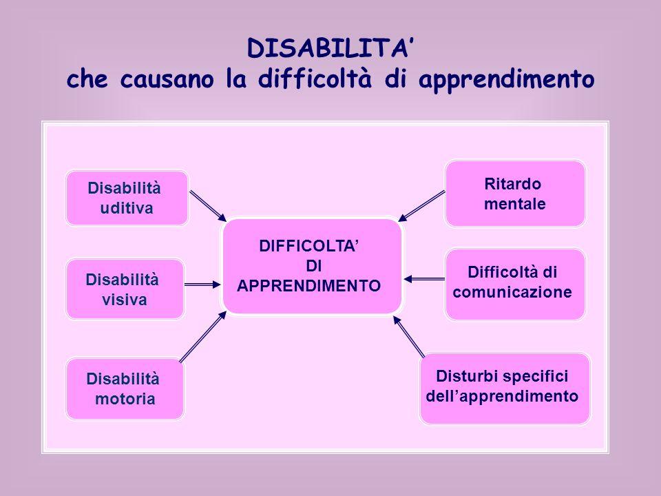 DISABILITA che causano la difficoltà di apprendimento Disabilità uditiva Disabilità visiva Disabilità motoria Ritardo mentale Difficoltà di comunicazione DIFFICOLTA DI APPRENDIMENTO Disturbi specifici dellapprendimento