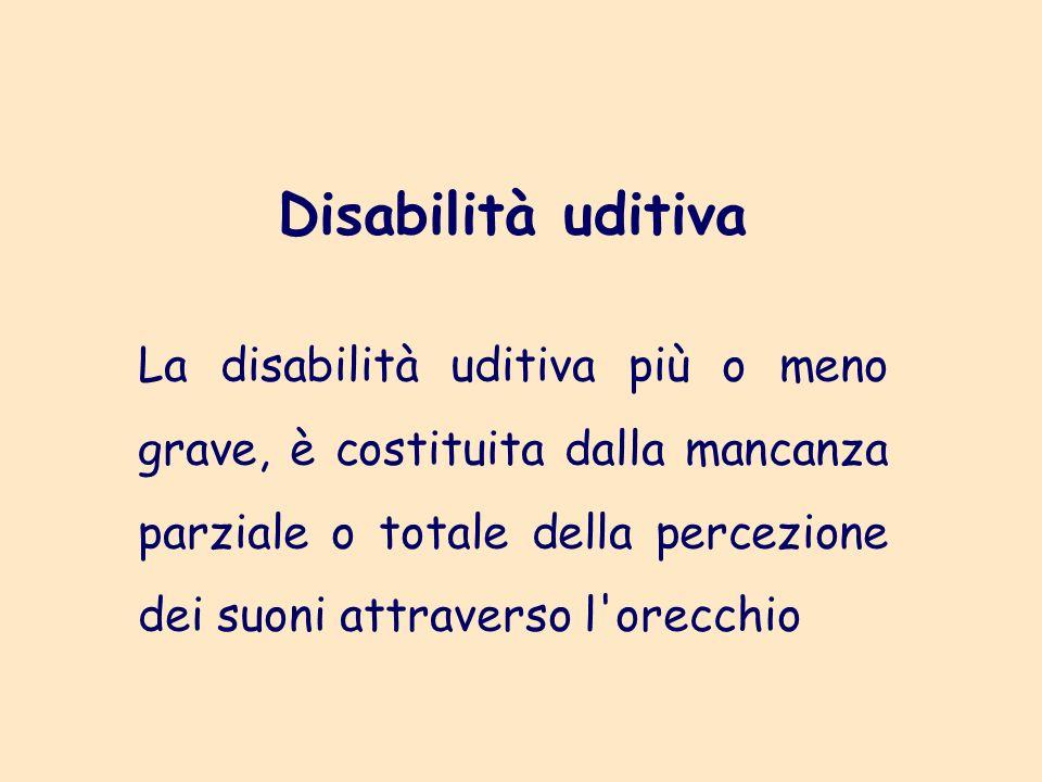 Disabilità uditiva La disabilità uditiva più o meno grave, è costituita dalla mancanza parziale o totale della percezione dei suoni attraverso l orecchio