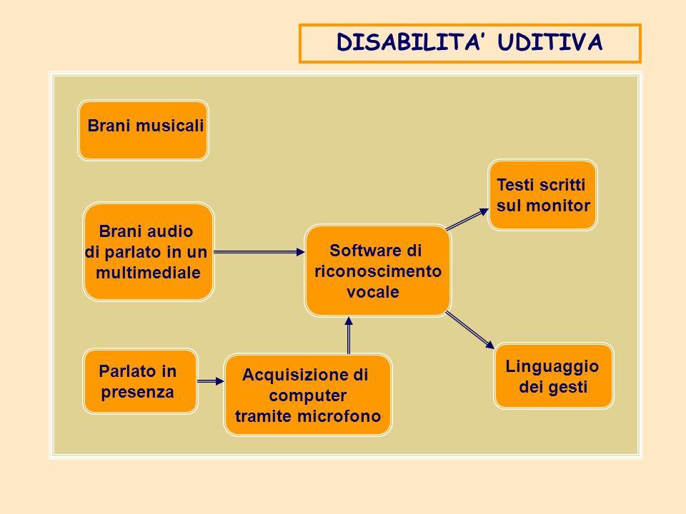 Brani musicali Brani audio di parlato in un multimediale Parlato in presenza Acquisizione di computer tramite microfono Software di riconoscimento voc