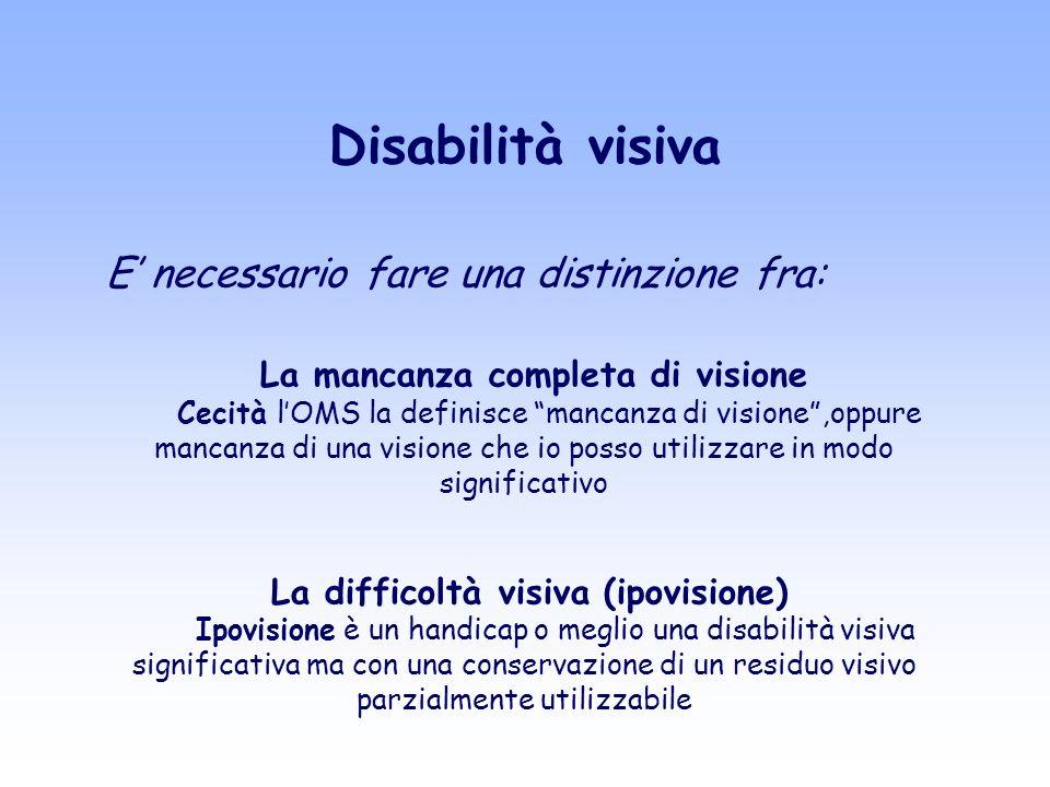 Disabilità visiva E necessario fare una distinzione fra: La mancanza completa di visione Cecità lOMS la definisce mancanza di visione,oppure mancanza di una visione che io posso utilizzare in modo significativo La difficoltà visiva (ipovisione) Ipovisione è un handicap o meglio una disabilità visiva significativa ma con una conservazione di un residuo visivo parzialmente utilizzabile