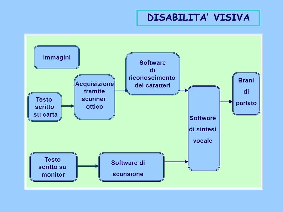 Immagini Testo scritto su carta Testo scritto su monitor Acquisizione tramite scanner ottico Software di riconoscimento dei caratteri Software di sintesi vocale DISABILITA VISIVA Software di scansione Brani di parlato