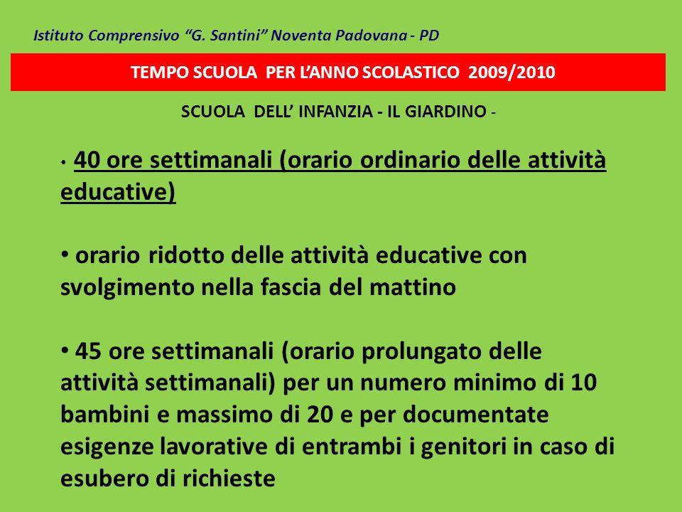 Istituto Comprensivo G. Santini Noventa Padovana - PD TEMPO SCUOLA PER LANNO SCOLASTICO 2009/2010 SCUOLA DELL INFANZIA - IL GIARDINO - 40 ore settiman