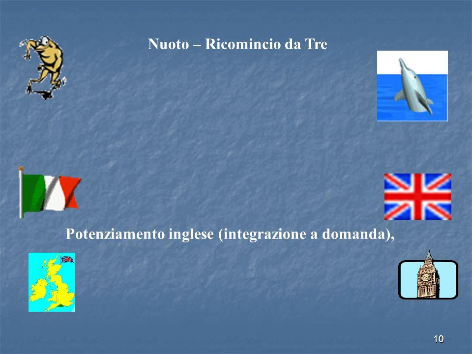 10 Nuoto – Ricomincio da Tre Potenziamento inglese (integrazione a domanda),
