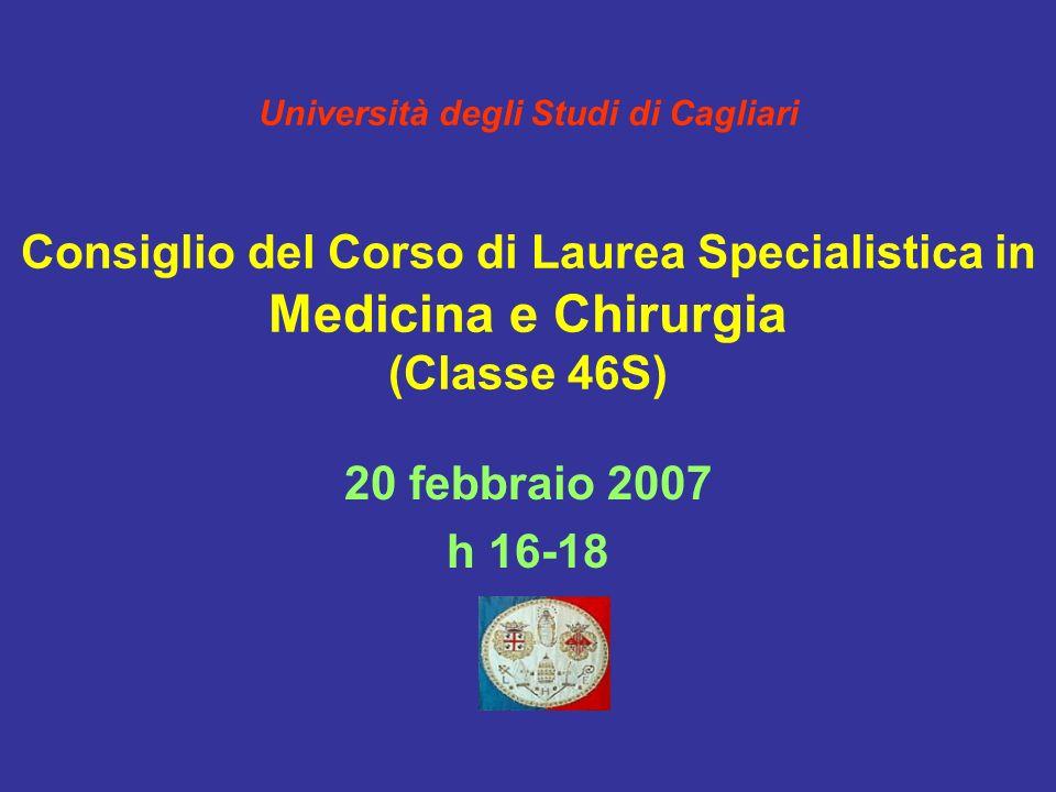 Università degli Studi di Cagliari Consiglio del Corso di Laurea Specialistica in Medicina e Chirurgia (Classe 46S) 20 febbraio 2007 h 16-18