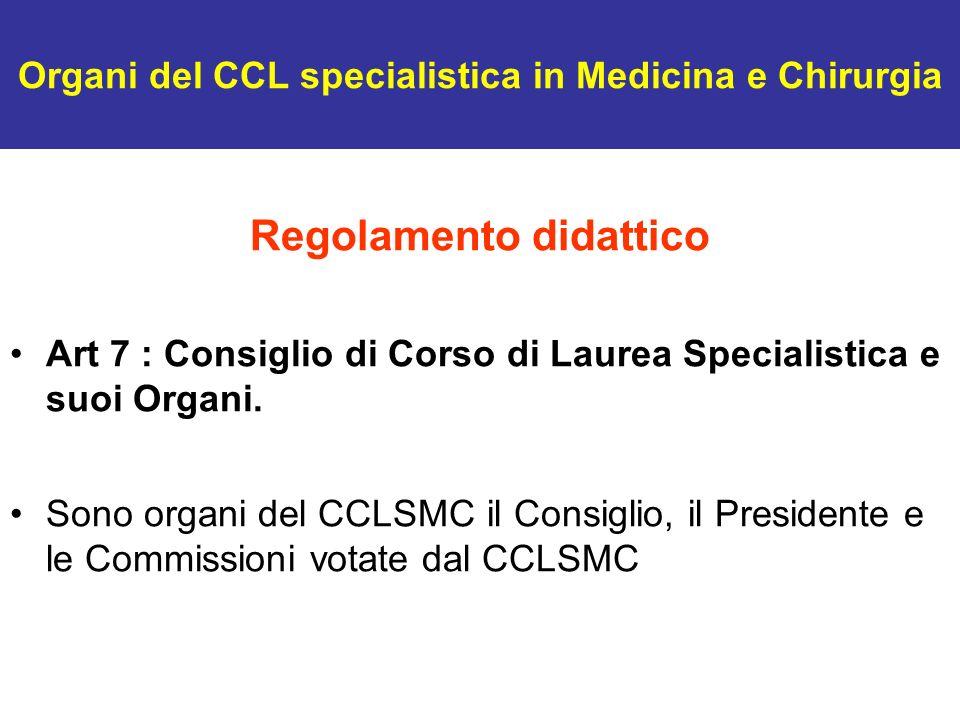 Organi del CCL specialistica in Medicina e Chirurgia Regolamento didattico Art 7 : Consiglio di Corso di Laurea Specialistica e suoi Organi. Sono orga