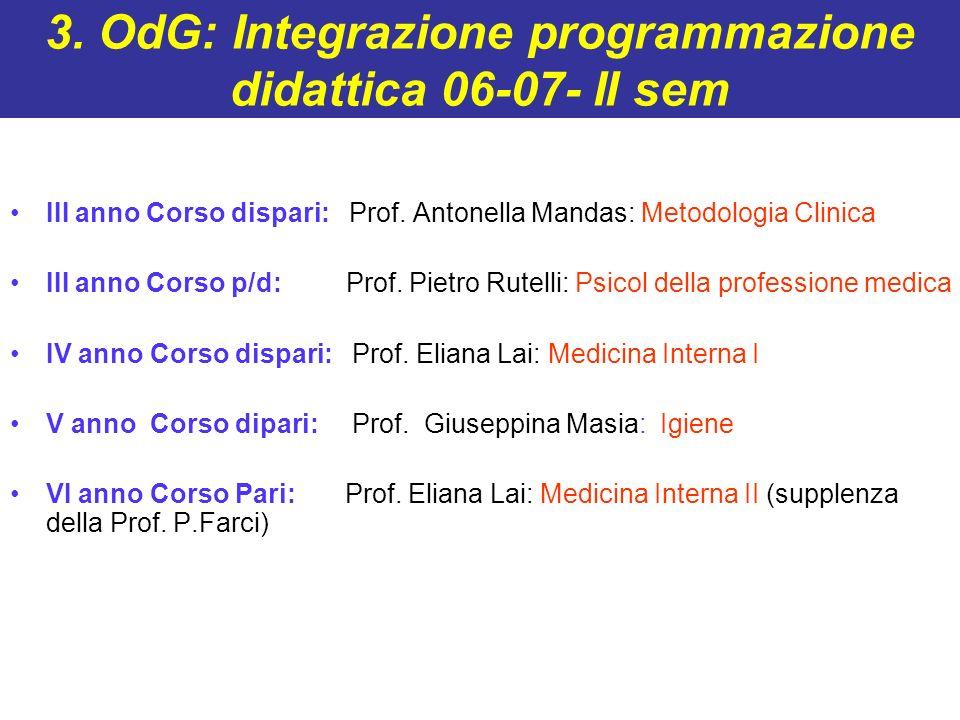 3. OdG: Integrazione programmazione didattica 06-07- II sem III anno Corso dispari: Prof. Antonella Mandas: Metodologia Clinica III anno Corso p/d: Pr