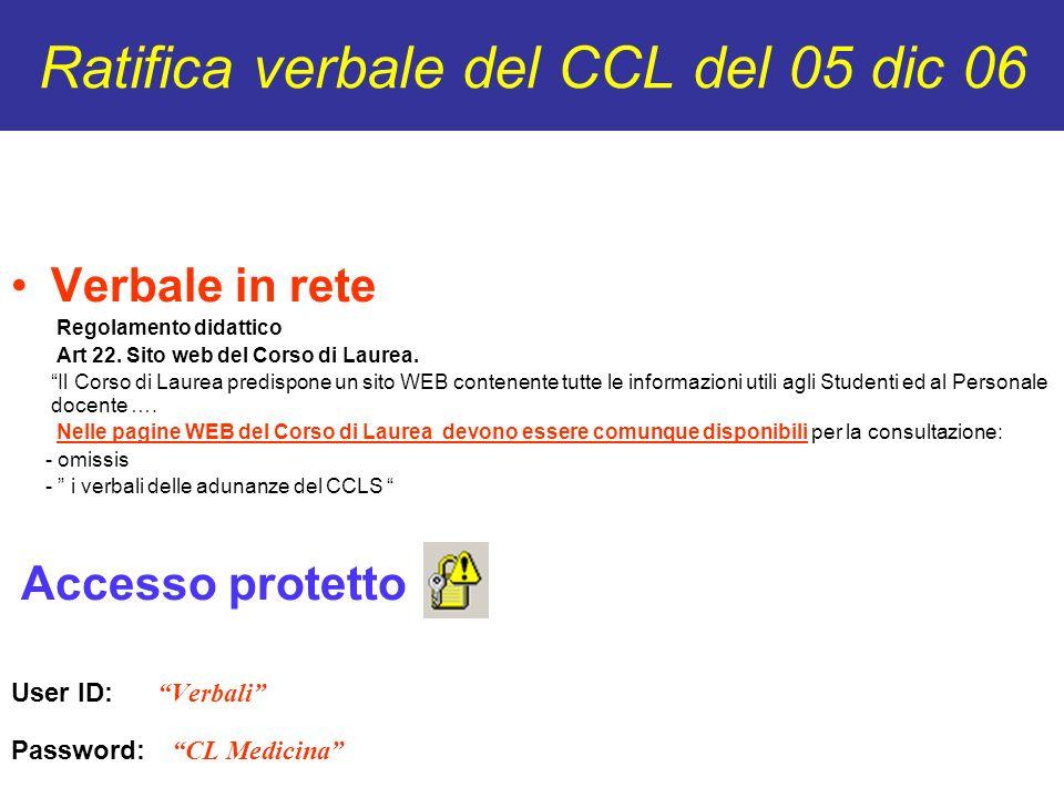 Ratifica verbale del CCL del 05 dic 06 Verbale in rete Regolamento didattico Art 22. Sito web del Corso di Laurea. Il Corso di Laurea predispone un si