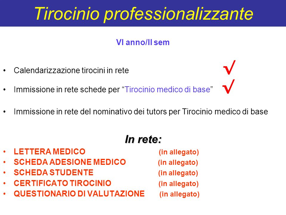Tirocinio professionalizzante VI anno/II sem Calendarizzazione tirocini in rete Immissione in rete schede per Tirocinio medico di base Immissione in r