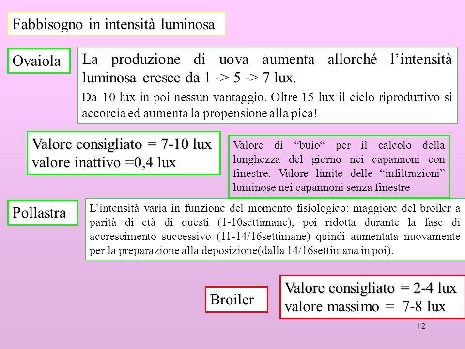12 Fabbisogno in intensità luminosa Ovaiola La produzione di uova aumenta allorché lintensità luminosa cresce da 1 -> 5 -> 7 lux.