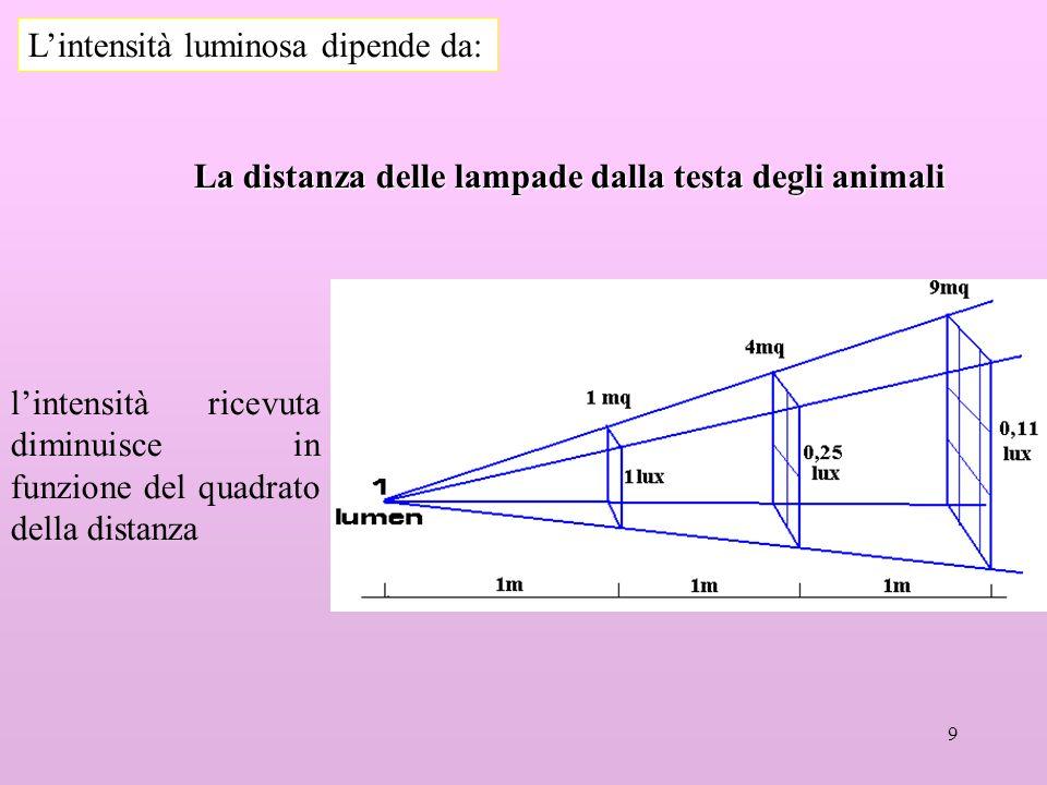 9 Lintensità luminosa dipende da: La distanza delle lampade dalla testa degli animali lintensità ricevuta diminuisce in funzione del quadrato della distanza