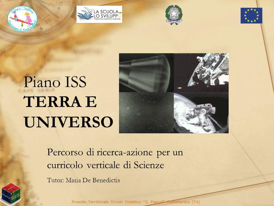 Piano ISS TERRA E UNIVERSO Percorso di ricerca-azione per un curricolo verticale di Scienze Tutor: Maria De Benedictis Presidio Territoriale Circolo D