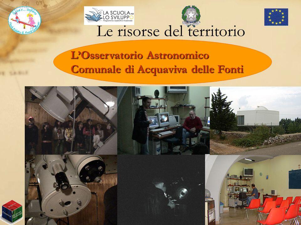 Le risorse del territorio Presidio Territoriale Circolo Didattico G. Pascoli Castellaneta (TA) LOsservatorio Astronomico Comunale di Acquaviva delle F