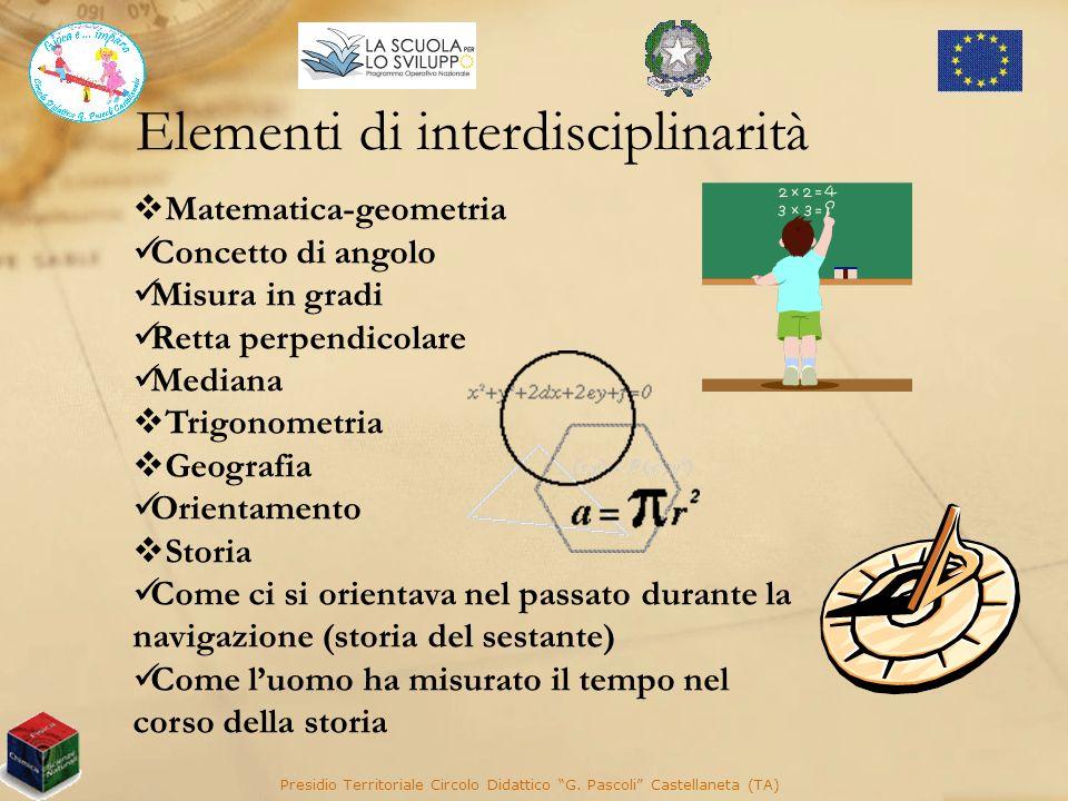 Elementi di interdisciplinarità Presidio Territoriale Circolo Didattico G. Pascoli Castellaneta (TA) Matematica-geometria Concetto di angolo Misura in
